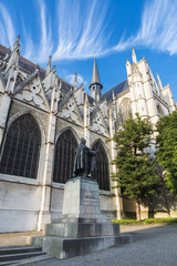 Facade of the Cathedral of Brussels in Belgium