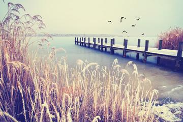 einsamer Steg am See im Winter