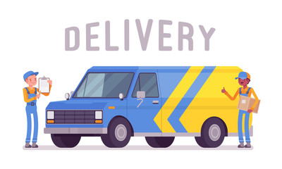 Delivery van and workers