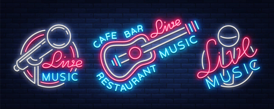 Live music set of neon signs vector logos, poster, emblem for live music festivals, music bars, karaoke, night clubs. Collection of templates for flyers, banners, invitations, brochures and covers