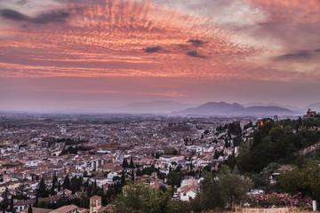 Panorama of Granada at sunset