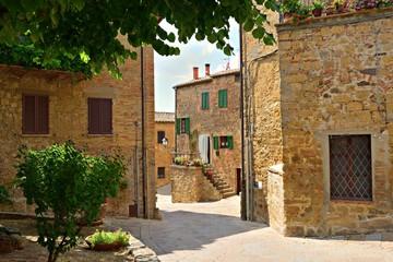 scorcio dell'antico villaggio in pietra di Monticchiello, Siena Toscana, Italia