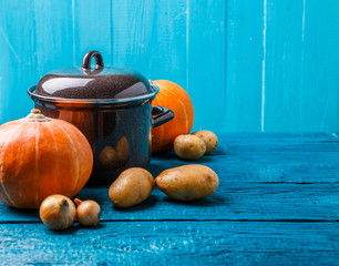 Picture of iron pot with lid, vegetables, potatoes, pumpkin, onions