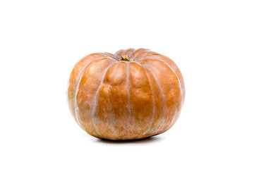 Orange pumpkin on white isolated background