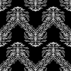Tapestry baroque seamless pattern. Grunge vector background with vintage embroidered damask flowers, leaves, lines, stripes. Black white embroidered tapestry fabric, wallpapers design. Zigzag ornament