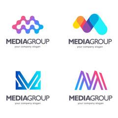 Set of vector logo design. M letter. Media sign