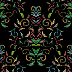 Embroidery damask seamless pattern. Colorful tapestry hand drawn flowers, swirl leaves, grunge ornaments. Black floral background. Embroidered bright design for wallpapers, textile. Tapestry flowers.