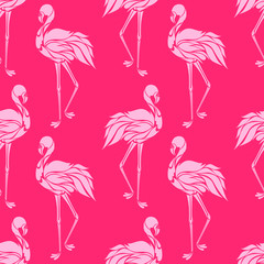 Vector seamless pattern with pink flamingos. Texture for wallpapers, textile design, web page backgrounds
