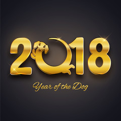 Happy new year of the dog 2018, gold text, card, postcard, vector illustration, cute funny dachshund round logo design