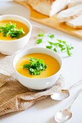 Two Bowls Of Pumpkin Soup