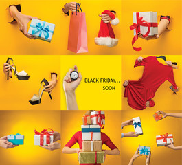 The collage about black friday and sale concept