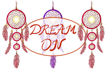 DREAM ON lettering and dreamcatchers. Hand drawn VECTOR illustration. Magenta and purple dream catchers.
