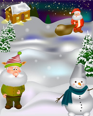 Christmas Greeting Card Design with santa, elf, snowman