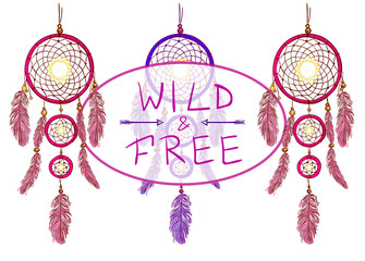 WILD and FREE text with handdrawn dreamcatchers,arrows. VECTOR illustration. Pink and purple dreamcatchers.