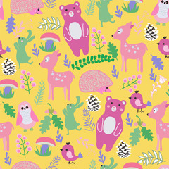 pattern with cute cartoon forest animals baby shower background.