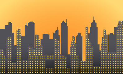 Dark morning, city landscape with skyscrapers and towers. Vector illustration