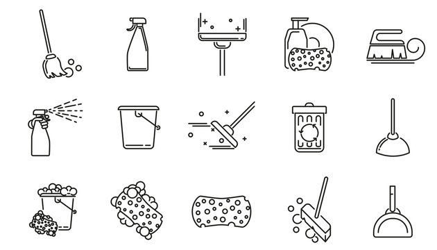 Cleaning service linear icons set. Vector cleaning tools signs or logo elements. Symbols in thin line style