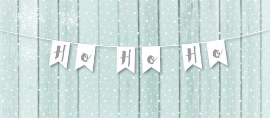 ho ho ho winter banner with snow