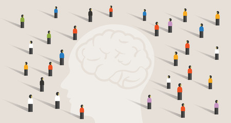 crowd many people group with large head mind thinking together. intelligence wisdom brain health care memory disease Wall mural