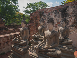 Ancient buddha statue of Phutthaisawan Temple in Ayutthaya, Thailand