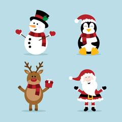 Christmas snowman, reindeer, penguin and Santa Claus