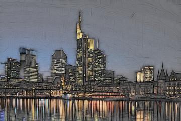 Frankfurter Skyline abstrakt