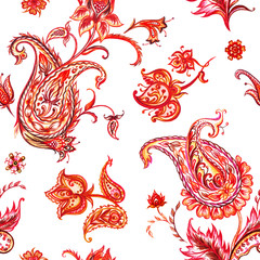 Seamless paisley pattern in red tones, watercolor illustration.