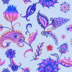 Seamless paisley pattern in violet and blue tones, watercolor illustration.