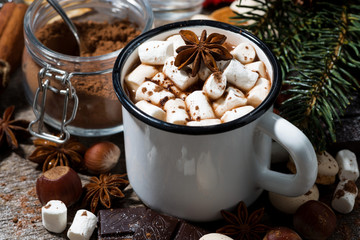 hot chocolate with marshmallows and sweets on wooden background