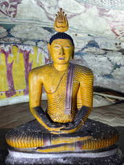 Inside of caves in ancient Buddhist complex in Dambulla cave temple. Sri Lanka