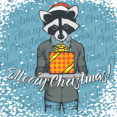 Vector illustration of raccoon on Christmas with gift