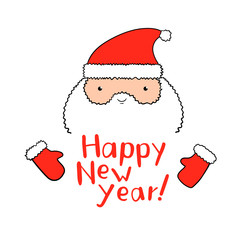 Funny Santa Claus with New Year lettering in vector.