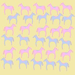 Horse stylized  pattern. Hand drawn.