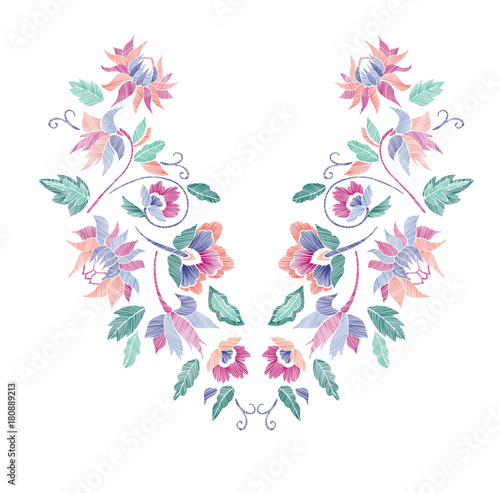 Floral Pattern Neck Line Designs Vector Illustration Hand Drawn