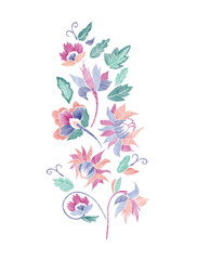 Floral pattern , neck line designs. Vector illustration hand drawn. Fantasy flowers embroidery pattern...
