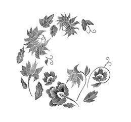 Set of floral pattern with fantasy flowers isolated. Vector illustration hand drawn. Embroidery design elements - flowers, leaves.