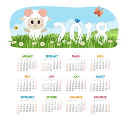 Calendar 2018 year with sheep