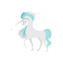 Mythical, mythological, fictional unicorn character, symbol of grace and purity, flat cartoon vector illustration isolated on white background. Mythical unicorn creature from fairy tales