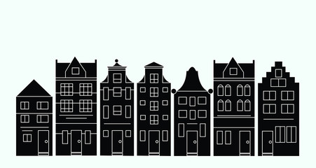 Vector illustration of various Dutch houses. Amsterdam street silhouettes.