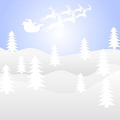 Santa Claus on a sleigh team with deer