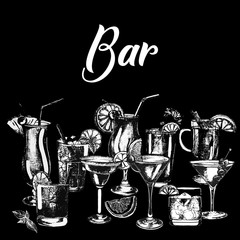 Set of hand drawn sketch style alcoholic drinks. Vector illustration isolated on black background.