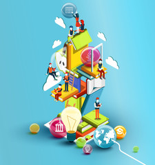 A tower of books with reading people.  Educational concept. Online library. Online education isometric flat design on blue background. Illustration
