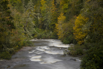 Autumn colors and river in North Carolina, USA.
