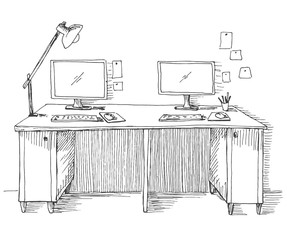 Sketch the room. Desk, various objects on the table. Sketch workspace. Vector illustration