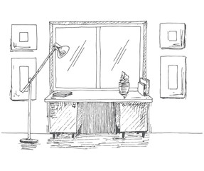 Hand drawn desk in front of the window. Next floor lamp. Vector illustration in sketch style.