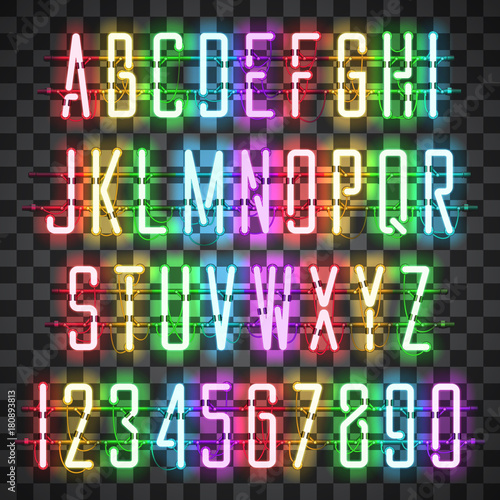 glowing multi colors neon casual script font with uppercase letters from a to z and digits
