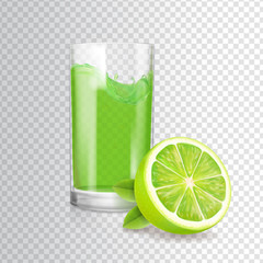 Shiny glass of lime juice in glass. Vector mojito cocktail realistic illustration