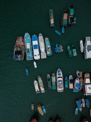Aerial Top View Boat in The Aberdeen Bay, Famous Floating Village in Hong Kong