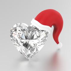 3D illustration heart diamond stone in the Christmas Santa Claus hat