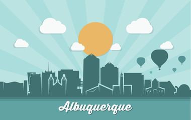 Albuquerque skyline - ribbon banner - New Mexico